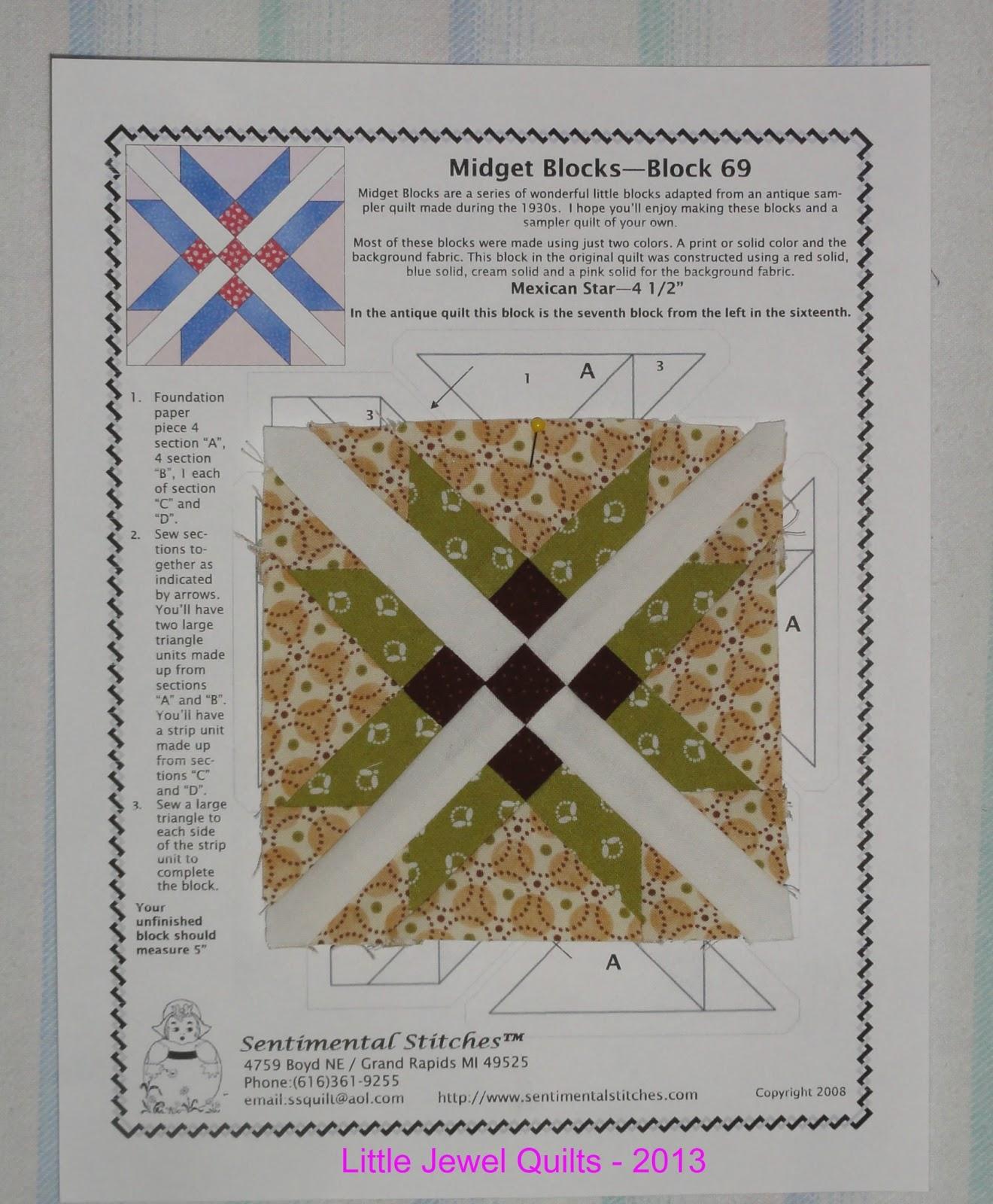 Tiny Jewel Foundation Paper Piecing Pattern