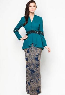 Koleksi baju kurung batik kombinasi polos