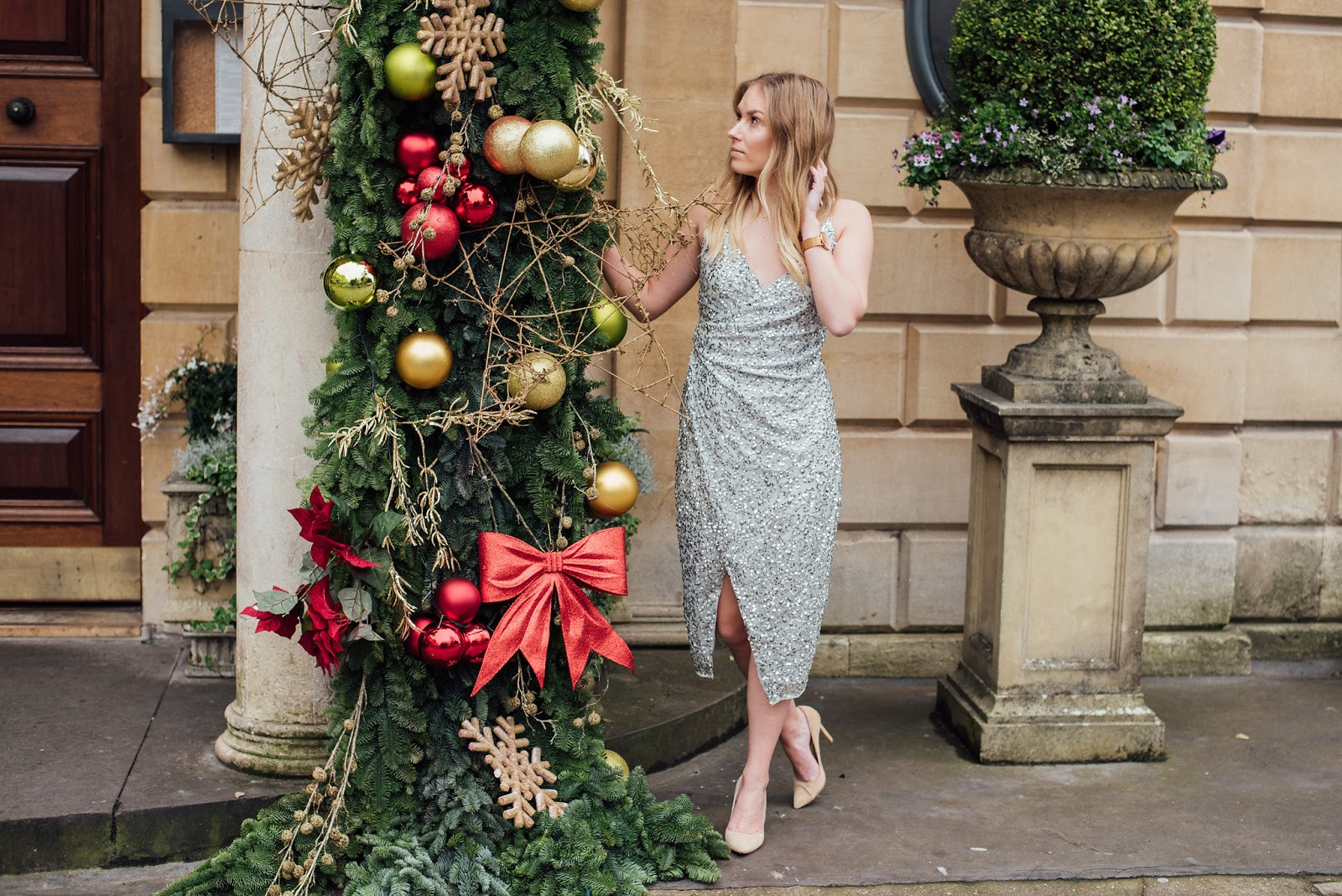 Fashion | The Only Dress You Need For The Christmas Party Season Silver Sequin ASOS Dress outside the Ivy Clifton