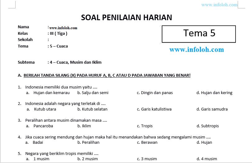 Soal Tematik Kelas 3 Tema 5 Subtema 4 Dan Kunci Jawaban Cuaca Musim Dan Iklim Cute766