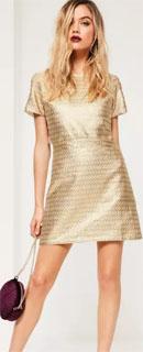 vestido de lurex con estampado jacquard dorado 2018