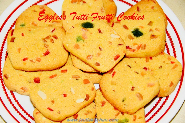 Eggless Tutti Frutti Cookies/ Fruit Cookies  Recipe with step by photo