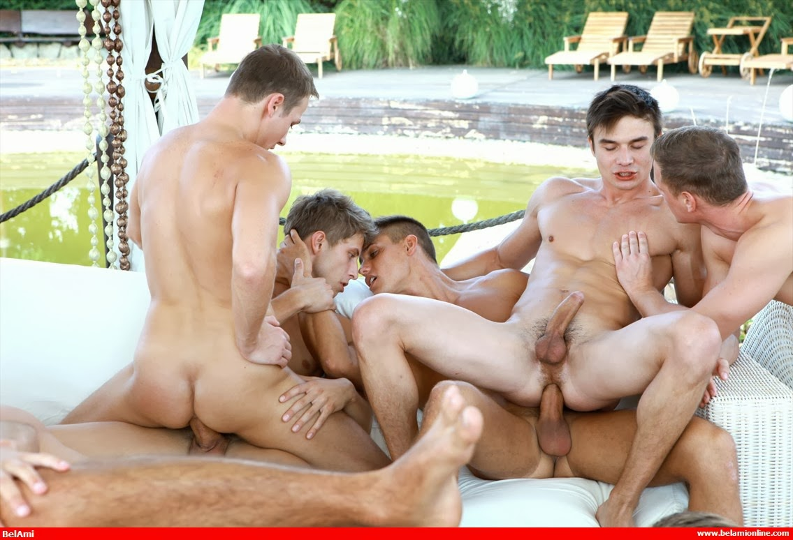 Giant gay orgy with tons of studly naked guys