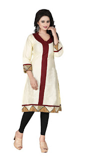 cream and maroon kurti