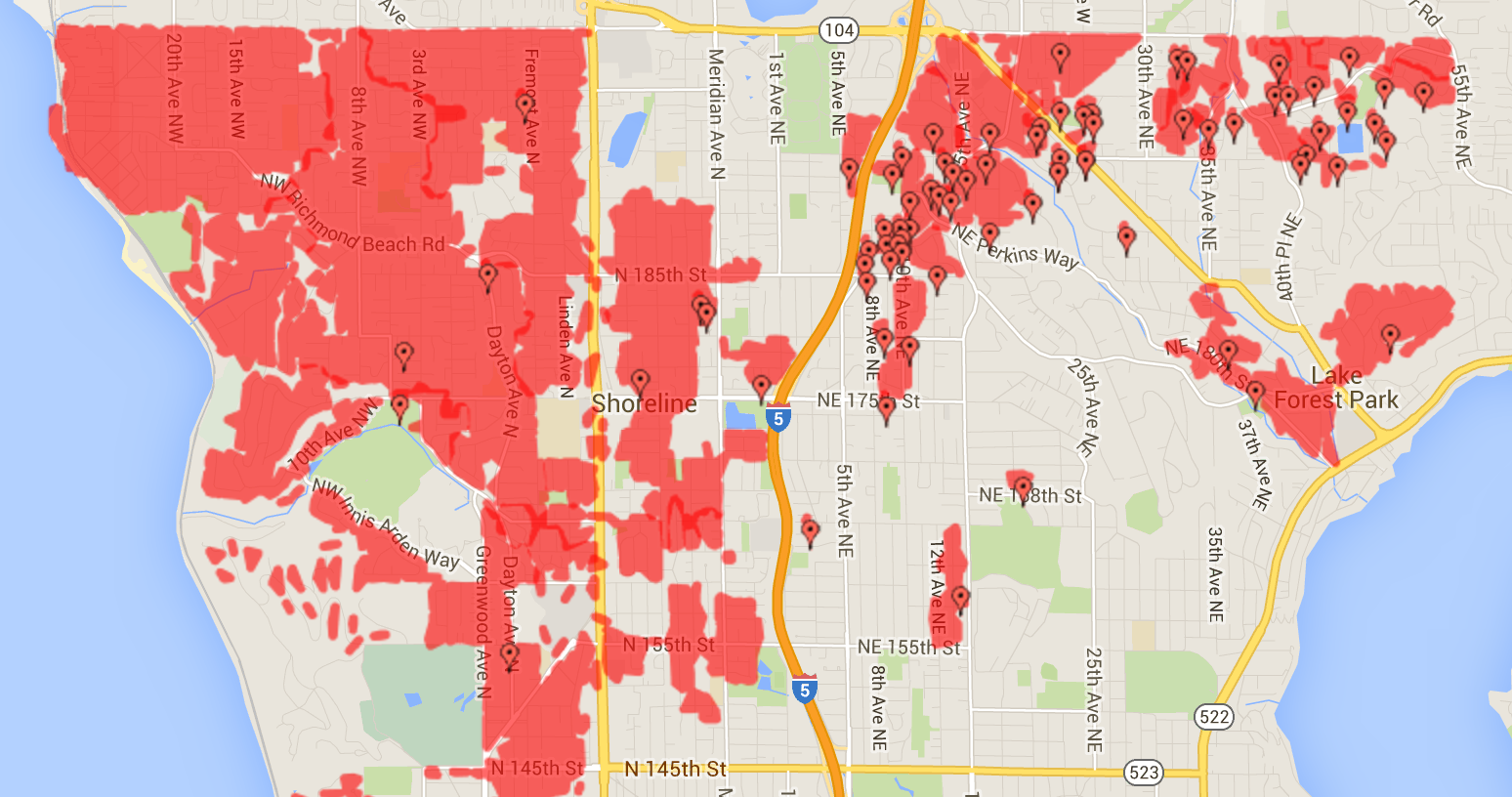 Seattle City Light Outage Map At 5pm 10pm   No Change To The Map