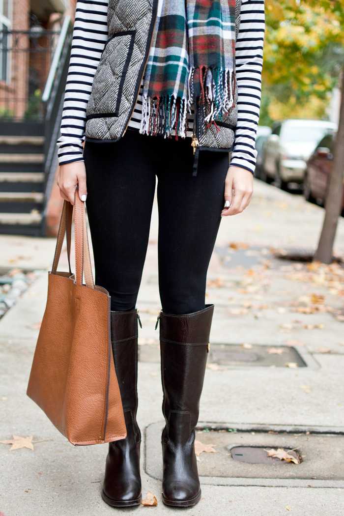 winter basic outfit idea with tory burch riding boots and jcrew vest and scarf layers
