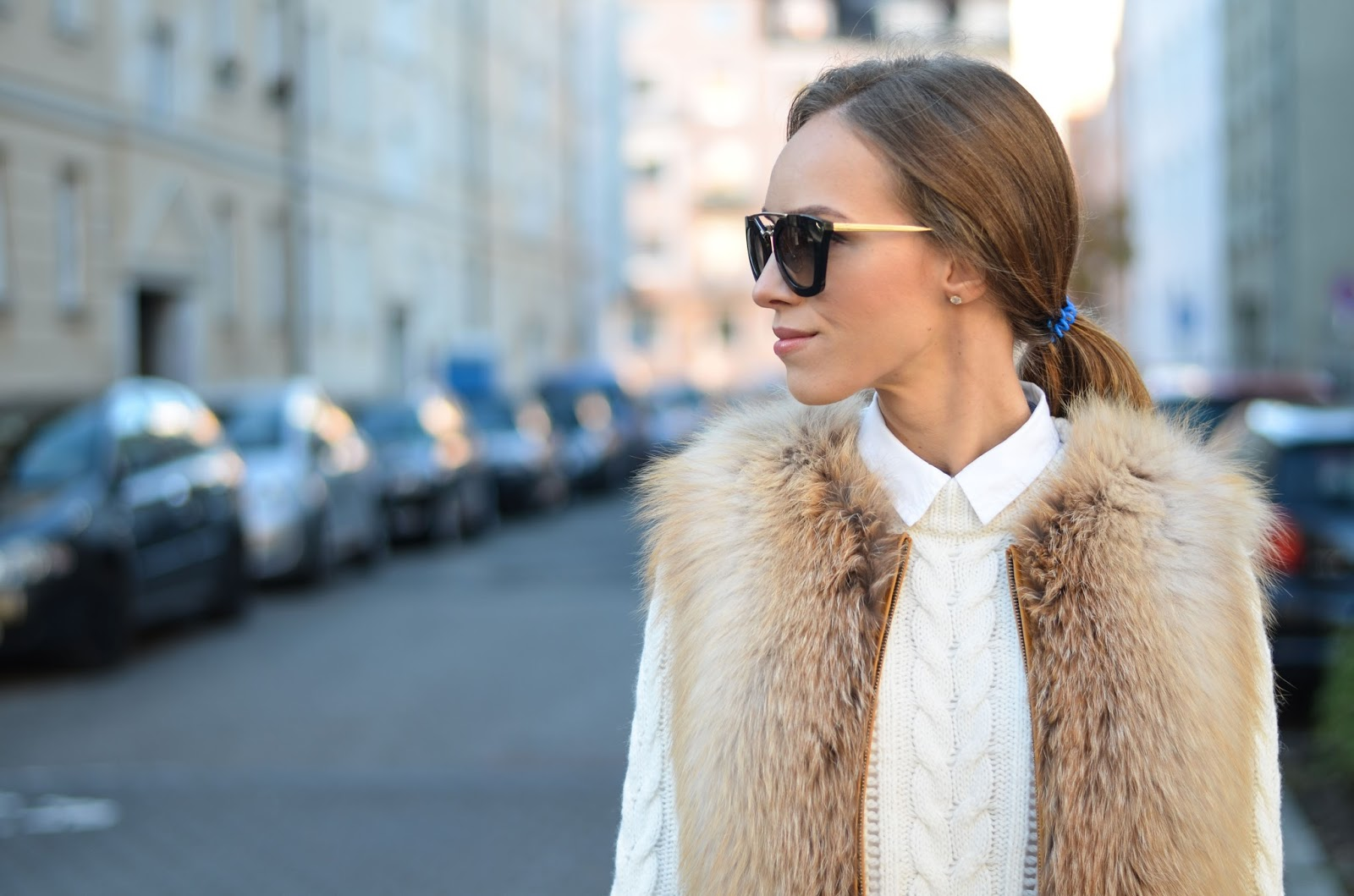 kristjaana mere fox fur vest prada cat eye cinema sunglasses