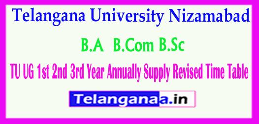 TU UG Telangana University UG 1st 2nd 3rd Year Annually Supply Revised 2018 Time Table