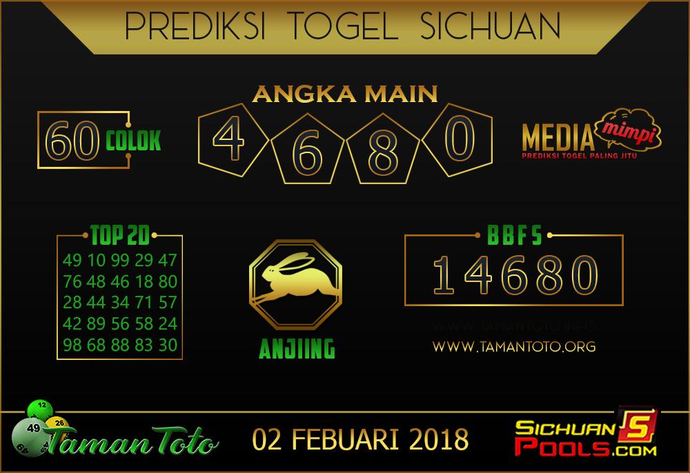 Prediksi Togel SICHUAN TAMAN TOTO 01 FEBRUARI 2019