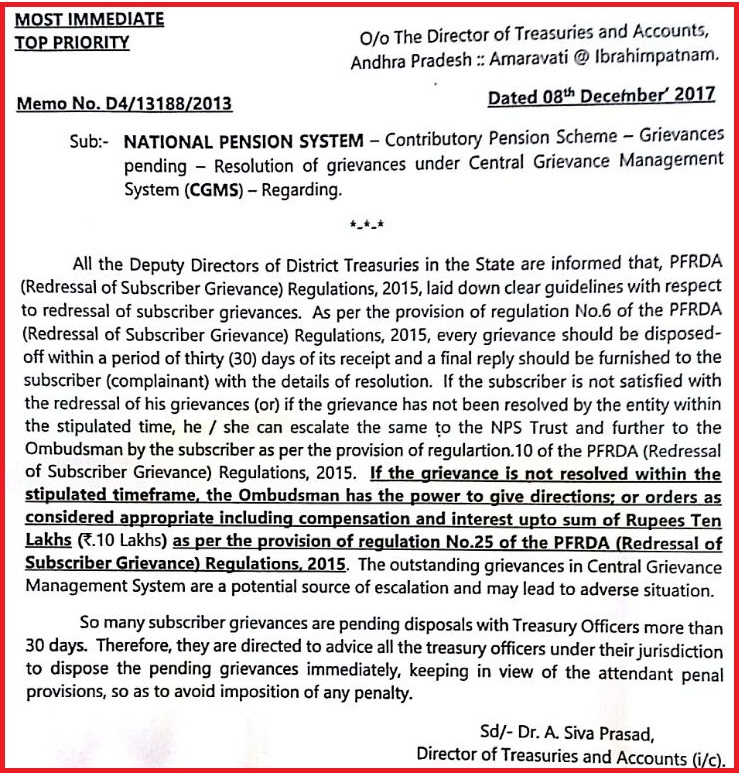 Memo No D4/13188/2013 || NPS - CPS - Grievances pending - Resolution of grievances under Central Grievance Management System (CGMS)