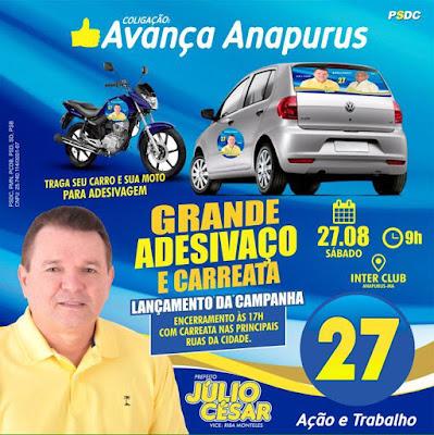 Neste sábado 27, Júlio César inicia sua campanha com adesivaço em veículos e uma mega carreata em Anapurus!