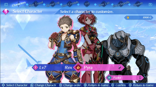 Xenoblade Chronicles 2 menu user interface character customisation Rex Pyra Fudor