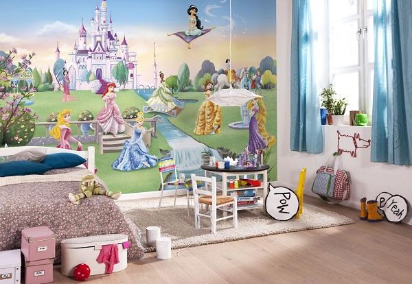 Fototapet barn prinsessor slott tjejtapet barntapet