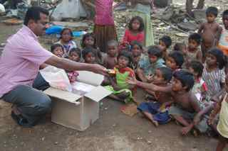 Helping poor children in India.