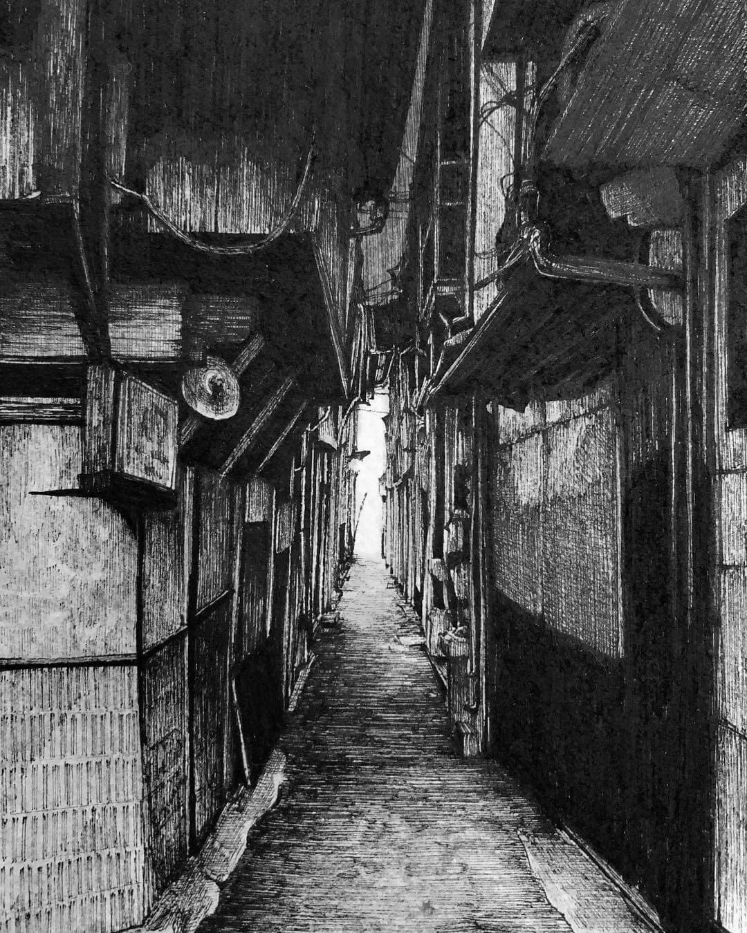 07-Dark-Alley-ibsuki-Urban-Architectural-Pen-Drawings-www-designstack-co
