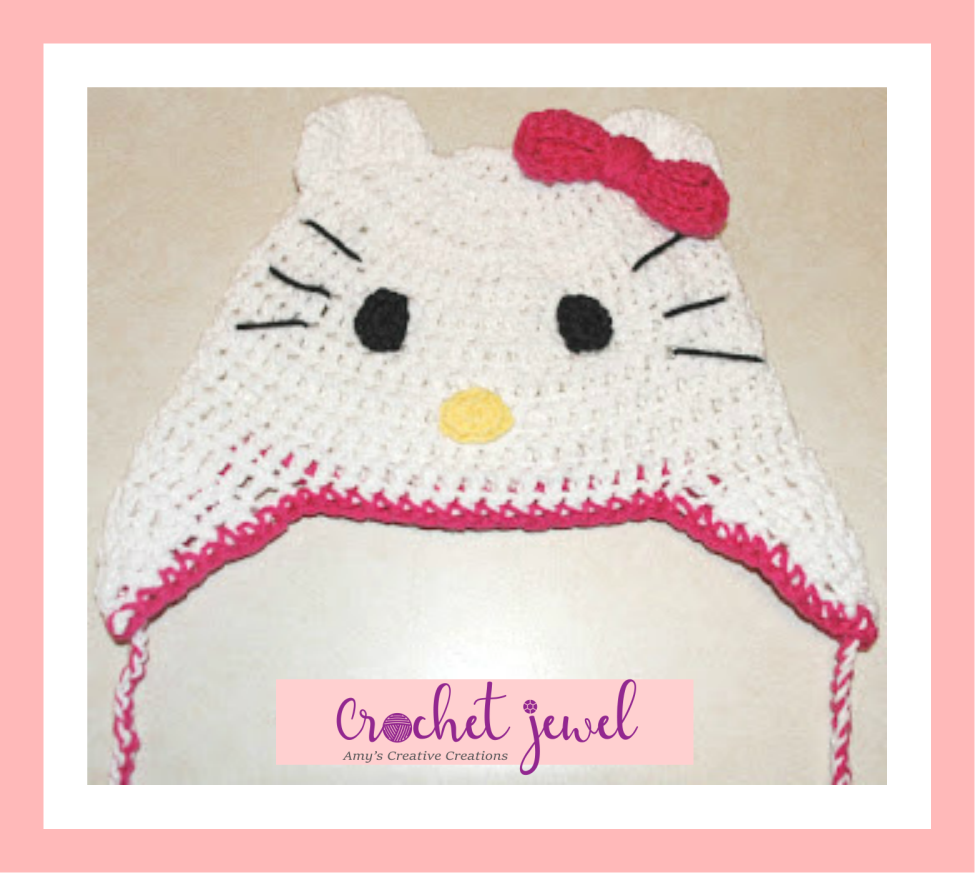 Amys Crochet Creative Creations Crochet Hello Kitty Ear Flap Hat