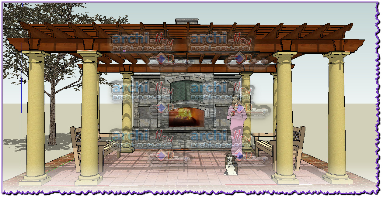 download sketchup 3d file pergola with fireplace by firehouse 3d