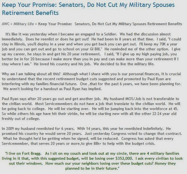 Army Wives Club: Keep Your Promise: Senators, Do Not Cut My