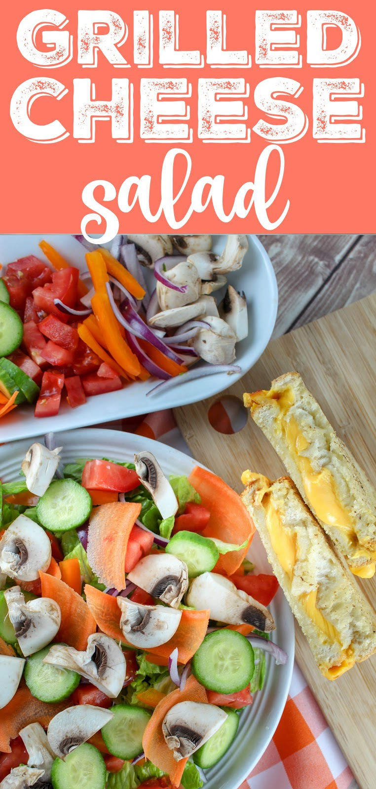 I have loved the Grilled Cheese Salad at Tom + Chee for years and I finally decided to make it myself. It's so simple and delicious! Tom + Chee was seen on Shark Tank a few years back and has become a big chain - and this is one of their best ideas! This takes croutons to the NEXT level! #grilledcheese #salad
