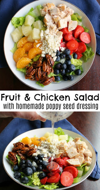 The best part of a salad is always the toppings and this beauty is loaded with the good stuff.  All of the fruit, chicken, nuts and cheese go deliciously with the simple to make poppy seed dressing.  You will find yourself serving salad a lot more frequently after you try this Portillos inspired chicken and fruit poppy seed salad!