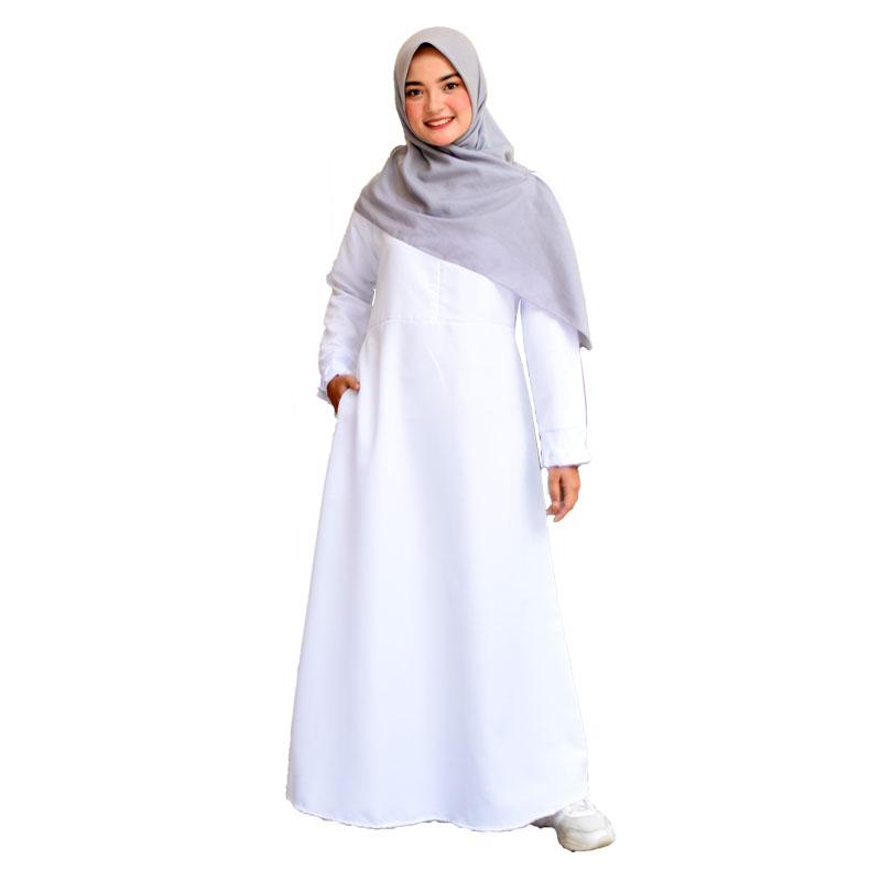 Gamis Wanita Balotelli Polos Syari - Putih