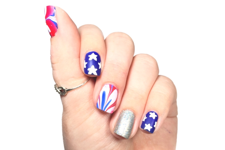 Fourth of July Water Marble Nails