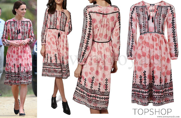 Kate Middleton wore Topshop Pink Print Embroidered Midi Dress