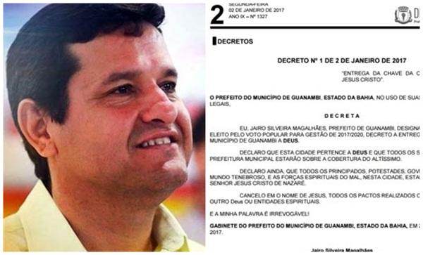 Prefeito de Guanambi decreta que cidade pertence a Deus e entrega chave da cidade ao Altíssimo