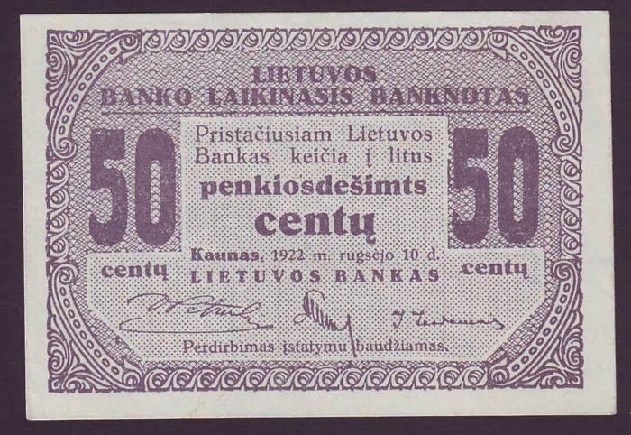 Lithuania Centas 50 Centu Banknote 1922 World Banknotes