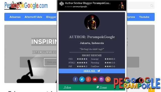Author Sidebar Blogger PerampokGoogle By Igniel