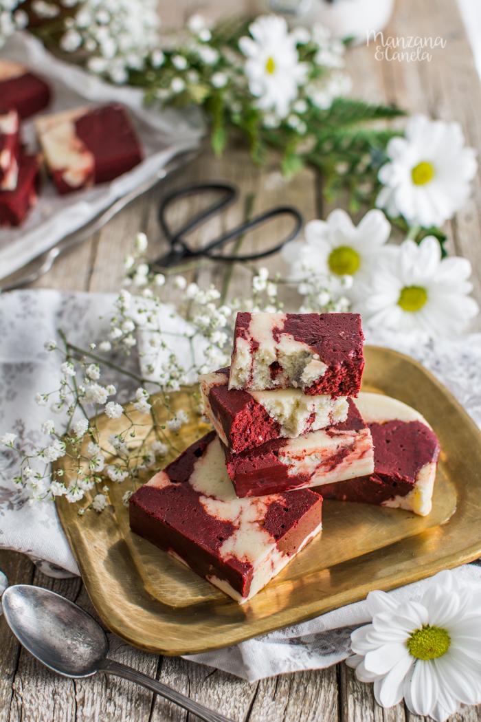 Fudge Red Velvet. Receta muy fácil de San Valentín.