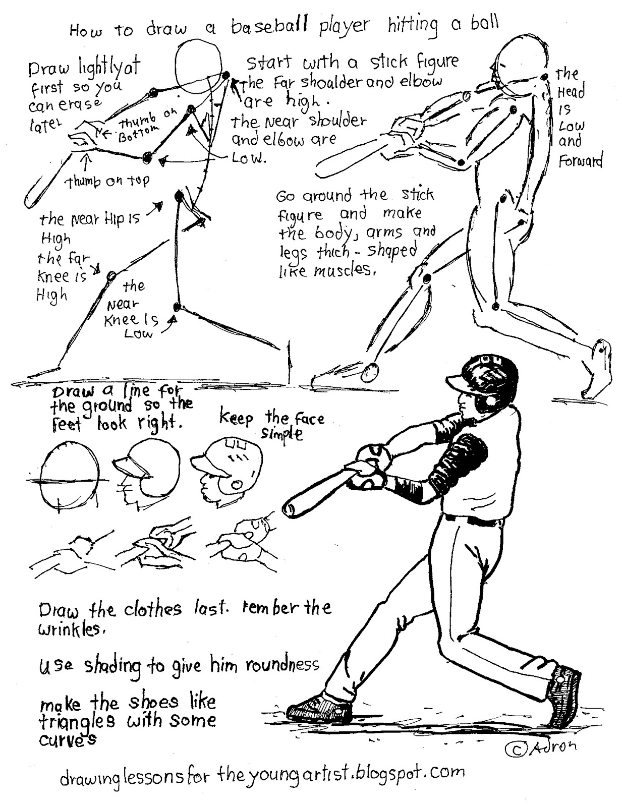 How To Draw Worksheets For The Young Artist How To Draw A Baseball