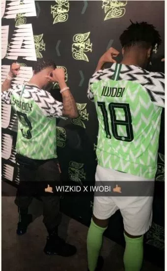 Super Eagles unveils new kit with Wizkid and Alex Iwobi posing while wearing  the new kit. Nigerian ... e2b733617