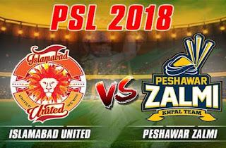 Peshawar Zalmi Vs Islamabad United 4th Match PSL 2018