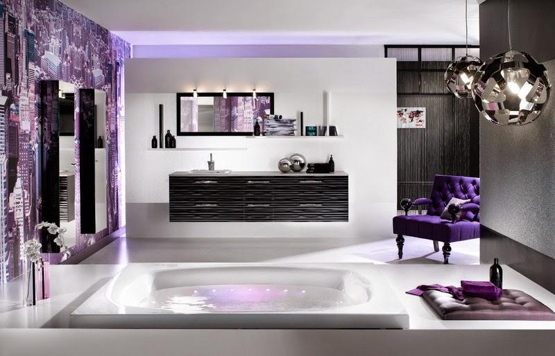 Baño color violeta y negro - Colores en Casa