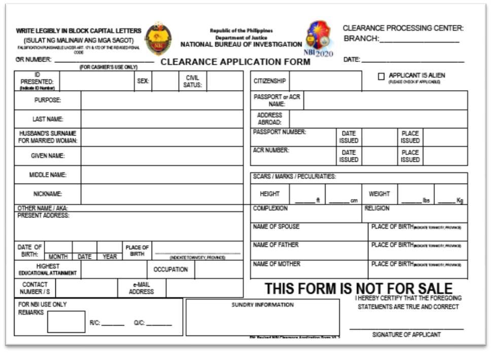 Nbi Application Form Pdf