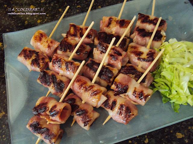 Aperitivo de gambas y bacon