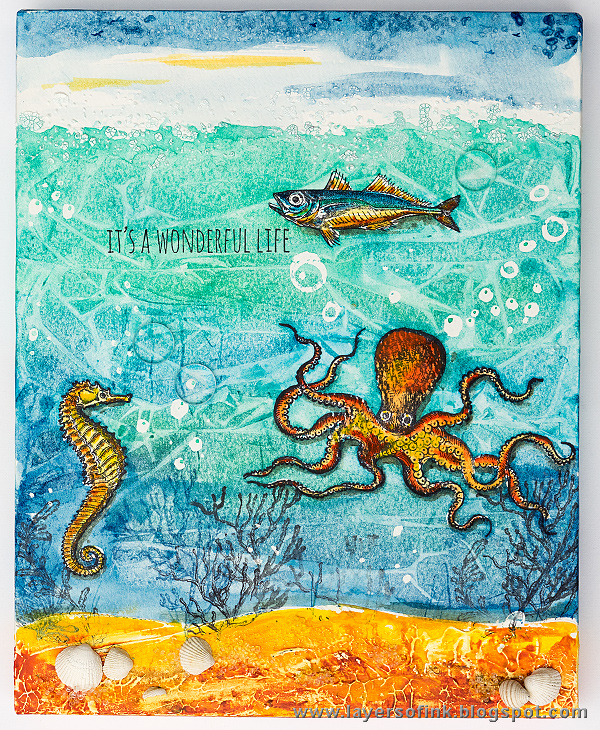 Layers of ink - Textured Watercolor Canvas Tutorial by Anna-Karin with Tim Holtz Sea Life stamps.