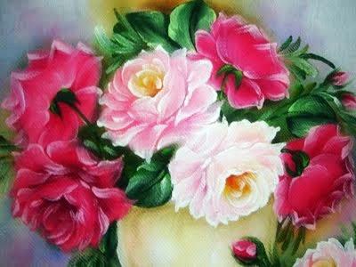 pintura em tecido vaso de rosas