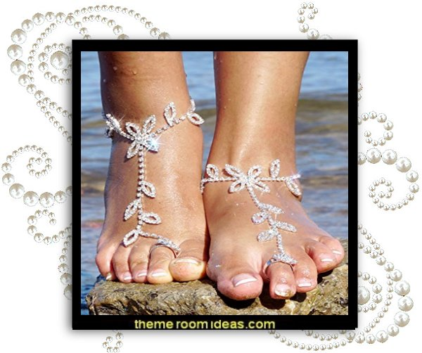 Women's Foot Chain Barefoot Sandals Beach Wedding Jewelry Anklet with Rhinestone Toe Ring