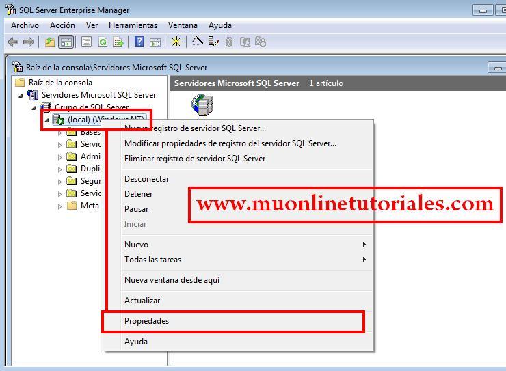 Configuración de inicio del servidor local