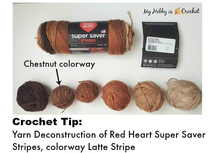 Deconstructing Red Heart Super Saver yarn, colorway Latte Stripe