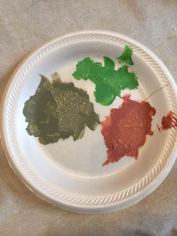 Colors used for stencil: Scandinavian Pink, Chateau Grey, and Antibes Green.