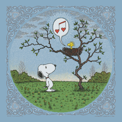 "Peanuts ""Woodstock's Song of Love"" Placid Blue Clouds Edition Screen Print by Marq Spusta"