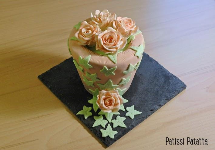 cake design, gâteau 3D, pâte à sucre, gumpaste, fondant, flowerpot cake, roses en gumpaste