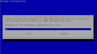 Kita pilih yes untuk mengkonfigurasi database untuk phpmyadmin Kemudian masukkan password