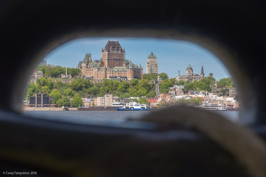May 2018 photo by Corey Templeton of A view towards Quebec City and the Fairmont Le Château Frontenac from the ferry.