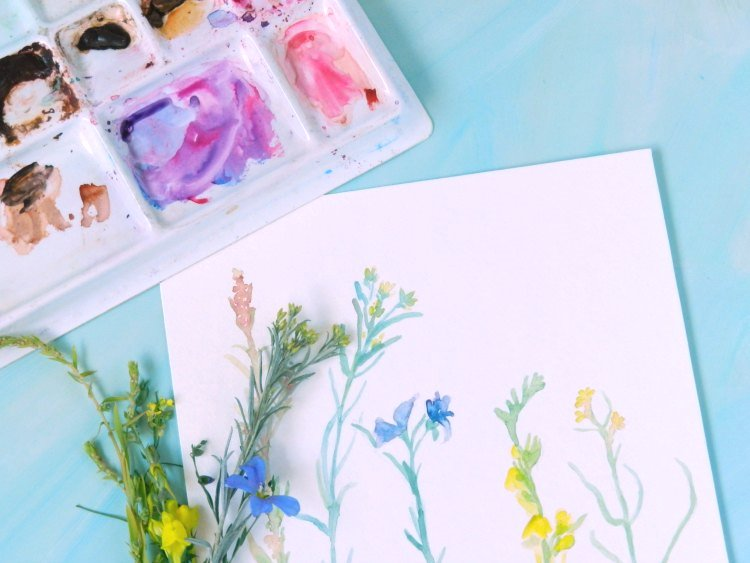 Wildflowers Original Watercolor Painting by Elise Engh