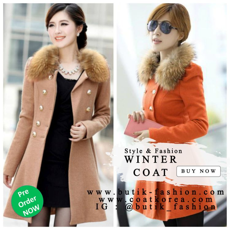 LONG COAT WANITA KOREA - JAKET BULU IMPORT KOREA STYLE