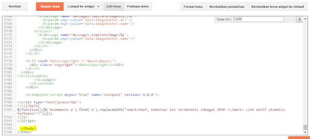 code </body> pada template blogspot